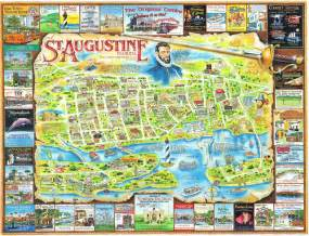 florida st augustine map postcard and