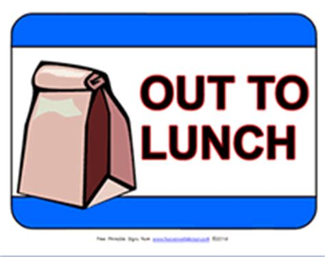 free printable out to lunch temporary sign