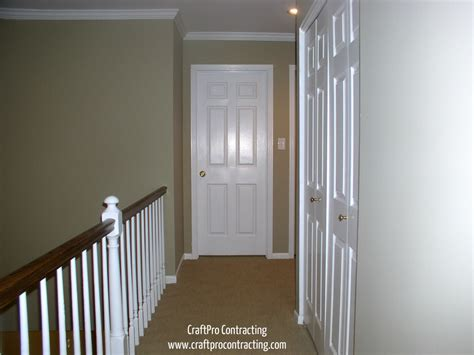 hallway painted in bennington gray paint color by benjamin using top shelf aura paint