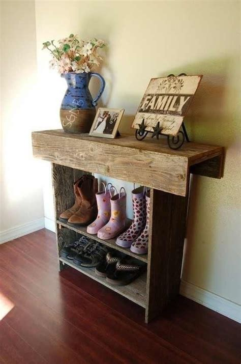 simple rustic shoe rack with shelf for entryway