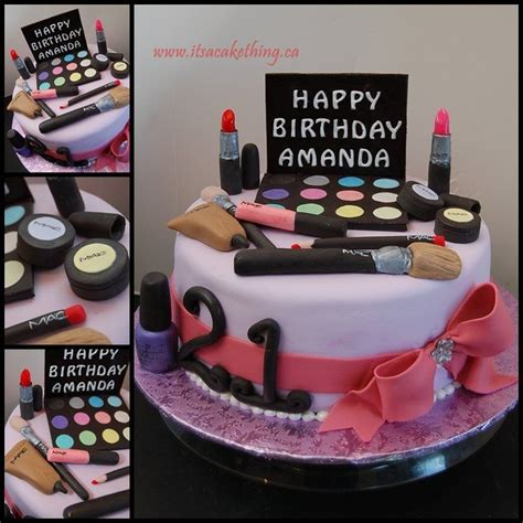 birthday themed makeup make up inspired cake for amanda s 21st birthday here