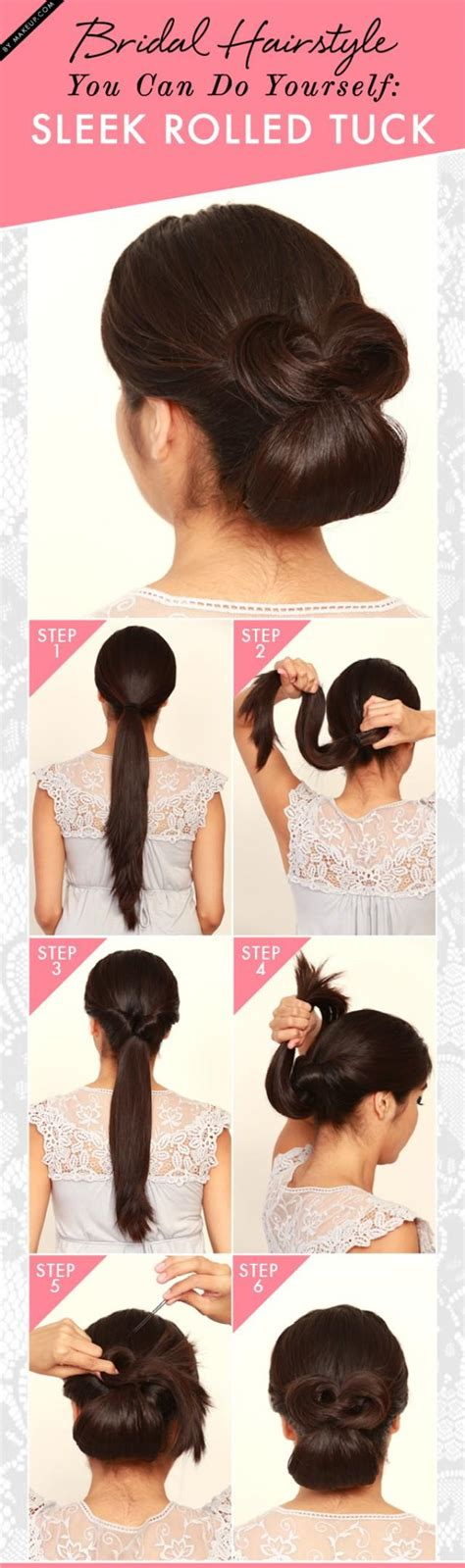 bridal hairstyles you can do yourself bridal hairstyle you can do on yourself sleek rolled tuck
