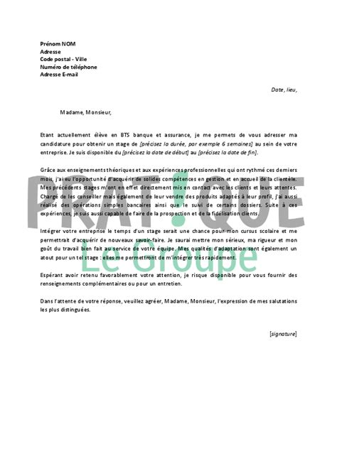 Lettre De Motivation Banque Word Lettre De Motivation Stage A La Banque Document