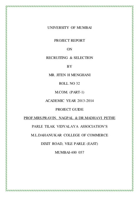 Mba Project Report On Performance Appraisal System Pdf by Project Hr Recruting Selection Copy