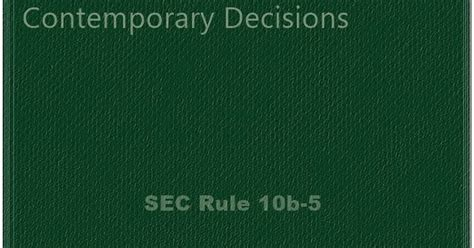 section 10b and rule 10b 5 landmark publications sec rule 10b 5