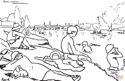 ausmalbild die badenden in asni 232 res von georges seurat