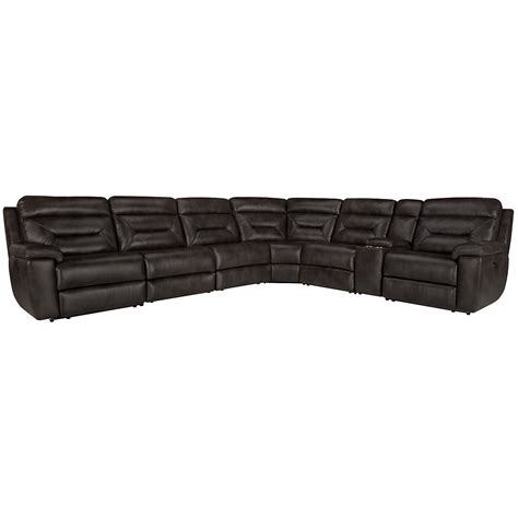Microfiber Reclining Sectional City Furniture Dk Gray Microfiber Large Two Arm