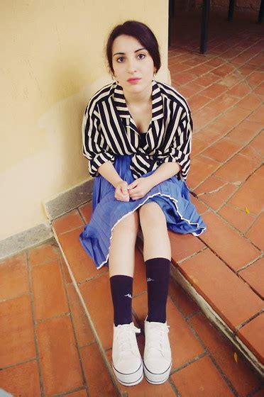 Andita Stripe I 10 i l l y silk shirt pleated skirt converse platform chucks a blackened shroud a
