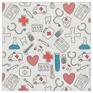 cute medical pattern nursing fabric zazzle com au