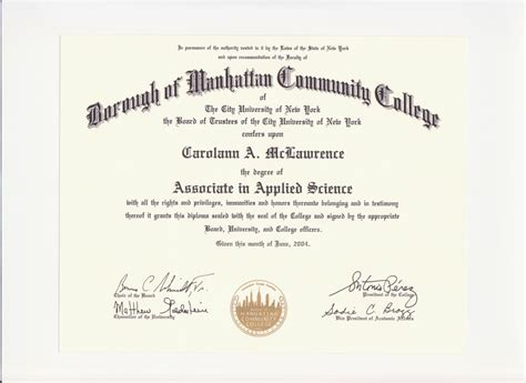 Mba Certificate Ny by Education Degree Certification Carolann Mclawrence S