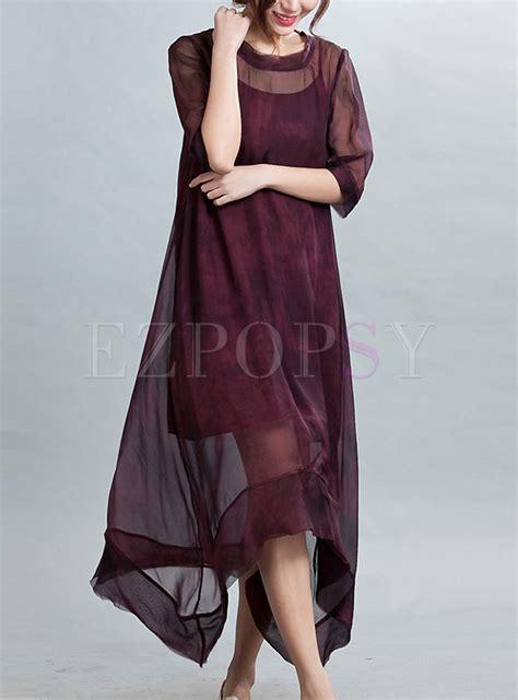 Asymmetric Silk Dress asymmetric patch silk dress ezpopsy