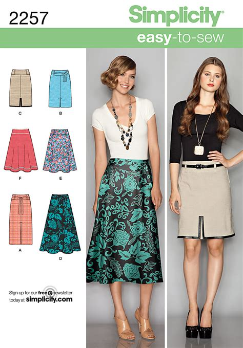 pattern sewing online simplicity 2257 misses skirts