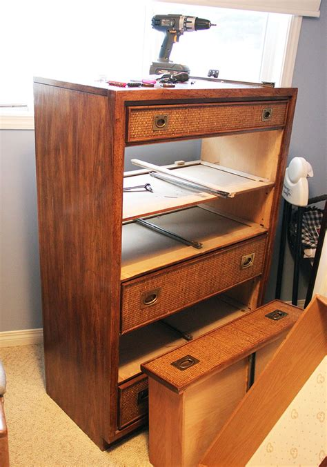 mcm dresser rescue with new hardware and drawer slides