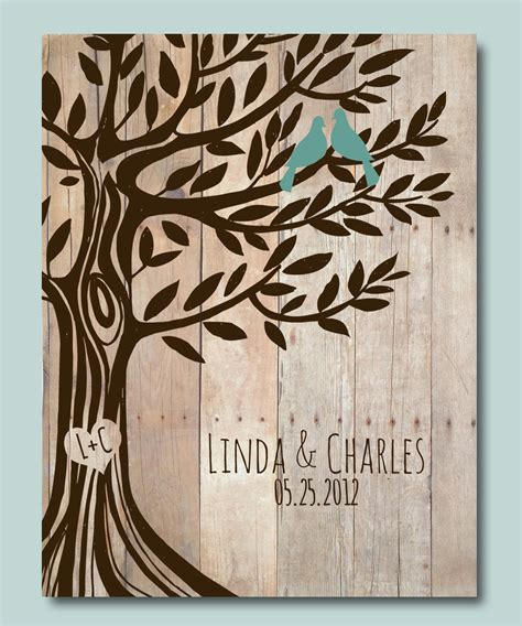 personalized wedding gift birds tree engagement gift