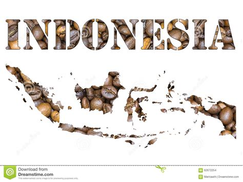 Coffee Bean Indonesia indonesia word and country map shaped with coffee beans background stock photo image 62672254