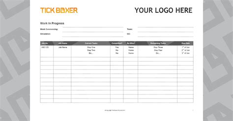 Ad Agency Work In Progress Template Free Download Tick Boxer Production Rate Card Template