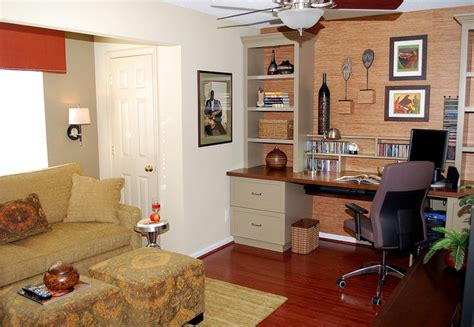 Small Home Office Houzz Small Home Office Uses Bold Colors Traditional Home