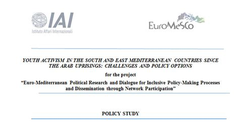 Youth Activism Essay by Policy Study Youth Activism In The South And East Mediterranean Countries Since The Arab