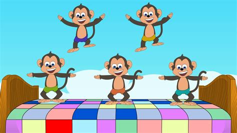 5 monkeys jumping on the bed finger family nursery rhymes five little mickey mouse