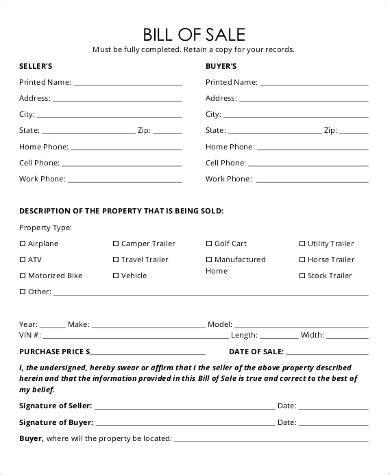 sle trailer bill of sale 8 exles in pdf word