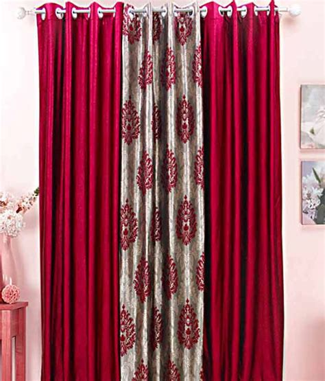 curtains maroon dekor world set of 3 grey maroon eyelet jacquard