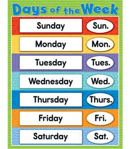 Calendar What Week Of The Year Is It Days Of The Week Chart Grade K 4 Carson Dellosa Publishing