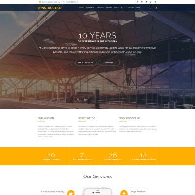 construction site templates construction company website templates