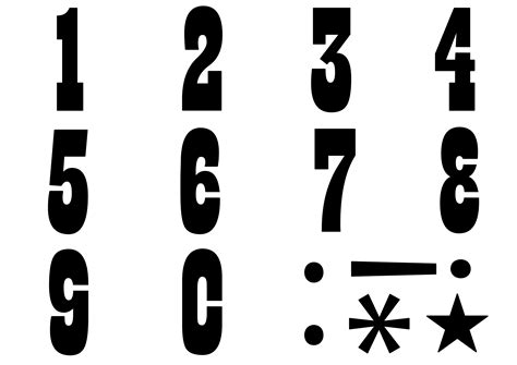 pattern for numbers only 簡単手書き 型抜き用数字の無料テンプレート