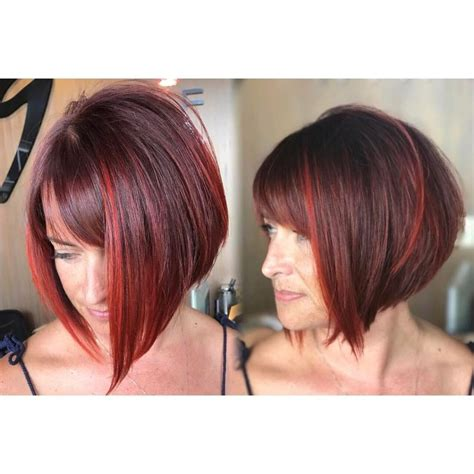 inverted bob with swoop bangs women s inverted bob with side swept bangs on burgundy