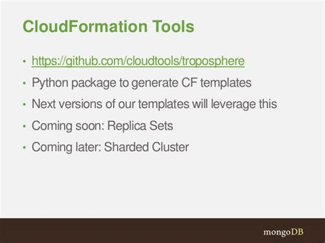 cloudformation template generator mongodb and aws integrations