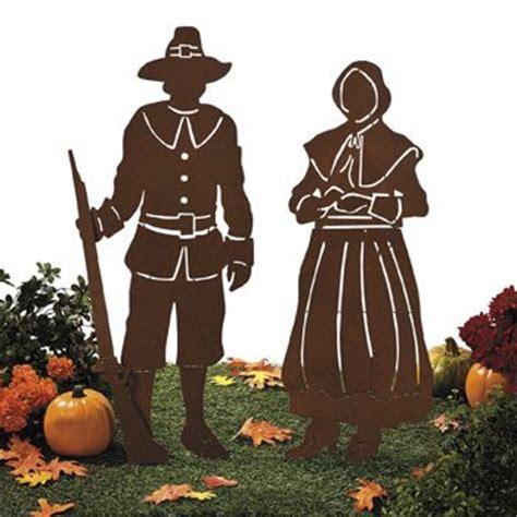 metal cut out pilgrims shadow yard stakes thanksgiving