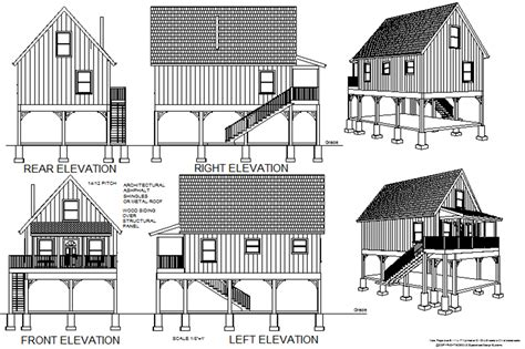 cottage blueprints 216 aspen cabin plans converted to to raised flood plain