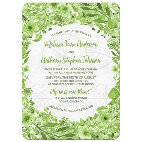 Wedding Invitations Green by Greenery Botanical Foliage Wedding Invitation Green White