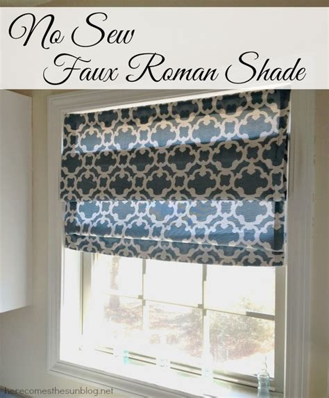 roman shade on curtain rod no sew faux roman shade