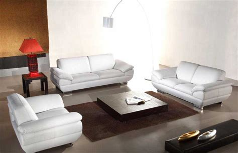 Italian Leather White Sofa Set He Vcal Leather Sofas