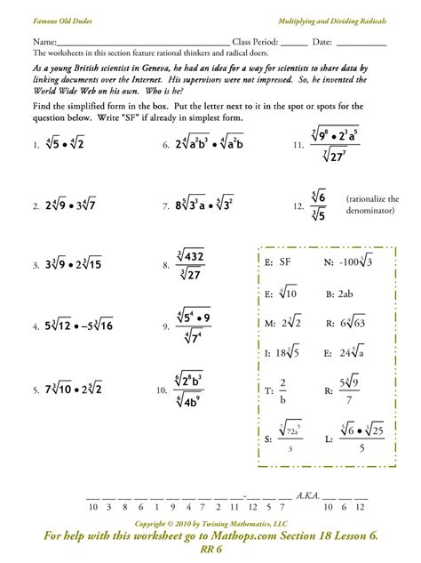Radical Worksheets by Addition And Subtraction Of Radicals Worksheet Adding