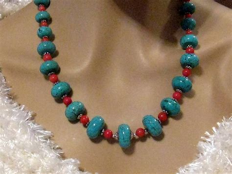turquoise and coral necklace chunky turquoise by