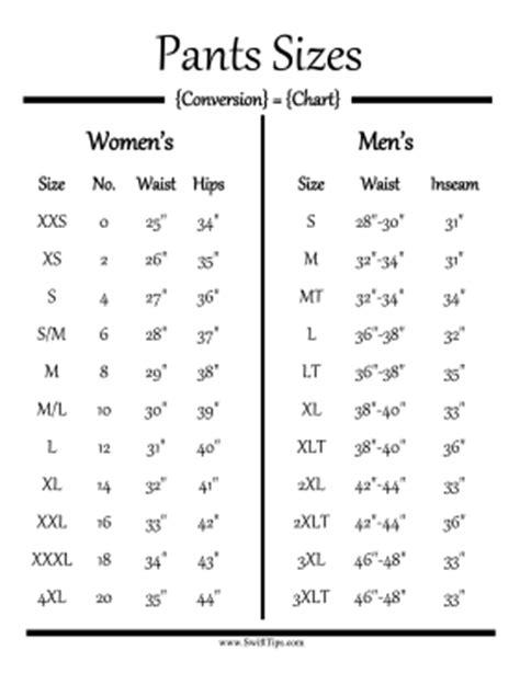pants size conversion chart