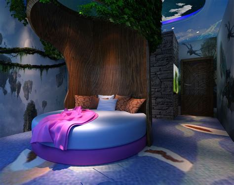 Creative bedroom round tree bed   Download 3D House