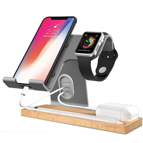 apple  charging stand lameeku universal    cell phone wood charging stand aluminum