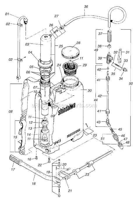 backpack sprayer parts diagram shindaiwa sp415 parts list and diagram 198697l3