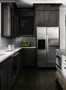 Black Stained Kitchen Cabinets by Distressed Kitchen Cabinets Contemporary Kitchen