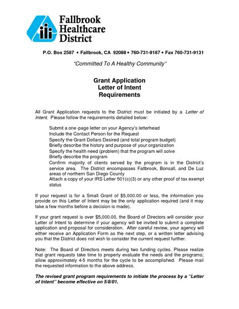 Letter Of Intent Exle Grant Letter Of Commitment Template For Grant Application