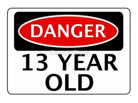 Fakes A Three Way For Bday by Danger 13 Year Birthday Safety Sign