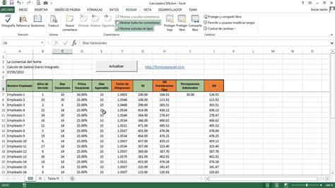 como calcular sueldo diario por vacaciones calculadora sdi salario diario integrado en excel