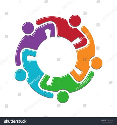 family gathering design vector teamwork group persons reunion logo design stock vector