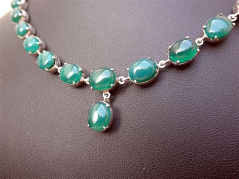 Handmade Sterling silver and green Agates necklace and bracelet set.   119 eur.   Jewellery