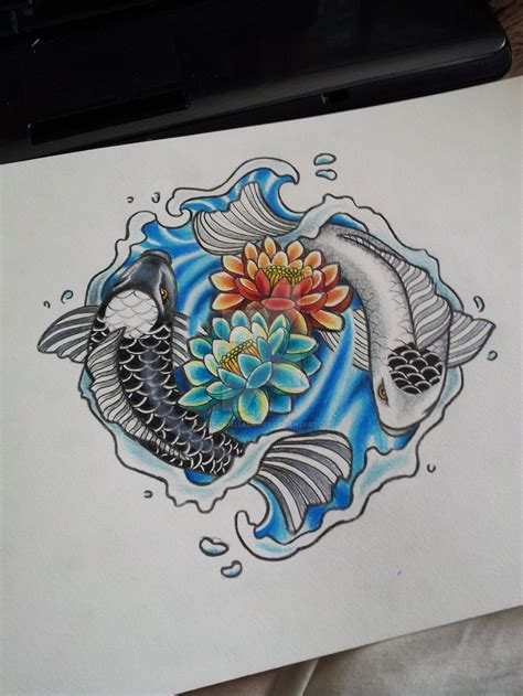 koi yin yang tattoo by kirstynoelledavies on deviantart