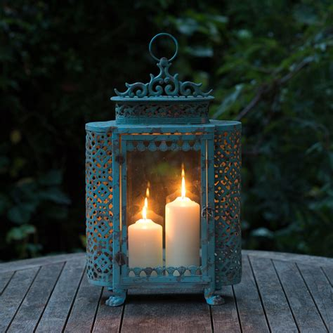 antique style large blue french garden candle lantern for