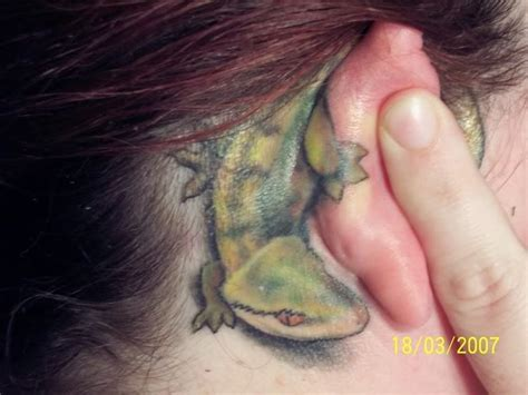 Gecko Tattoo Behind Ear | ear tattoo images designs